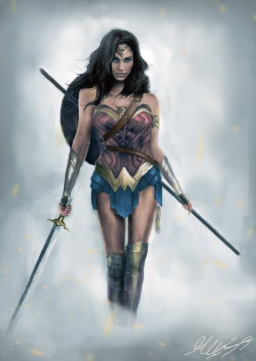 Digital Wonder Woman painting by Maor Hazon