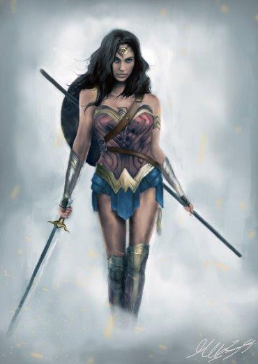Digital Wonder Woman painting by Maor Hazon